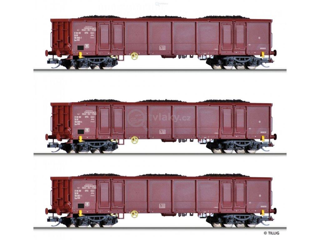 TT -  set 3 otevřených vozů Eas 5948 DR s nákladem hnědého uhlí / Tillig 01770