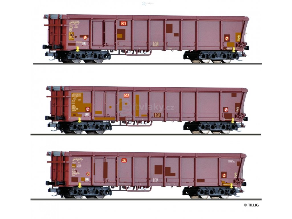 230956 tt set tri otevrenych vozu tamns 893 db ag s rolovaci strechou tillig 01772