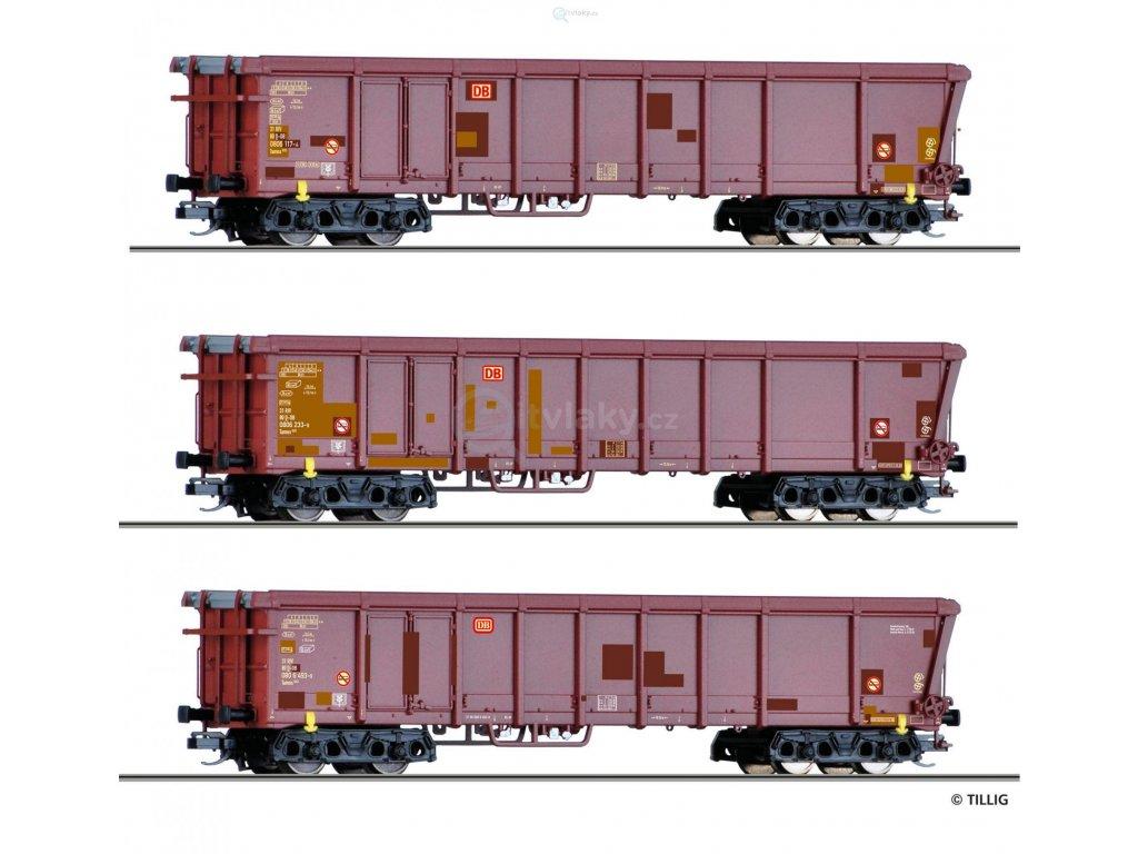 TT - Set tří otevřených vozů Tamns 893, DB AG s rolovací střechou / Tillig 01772