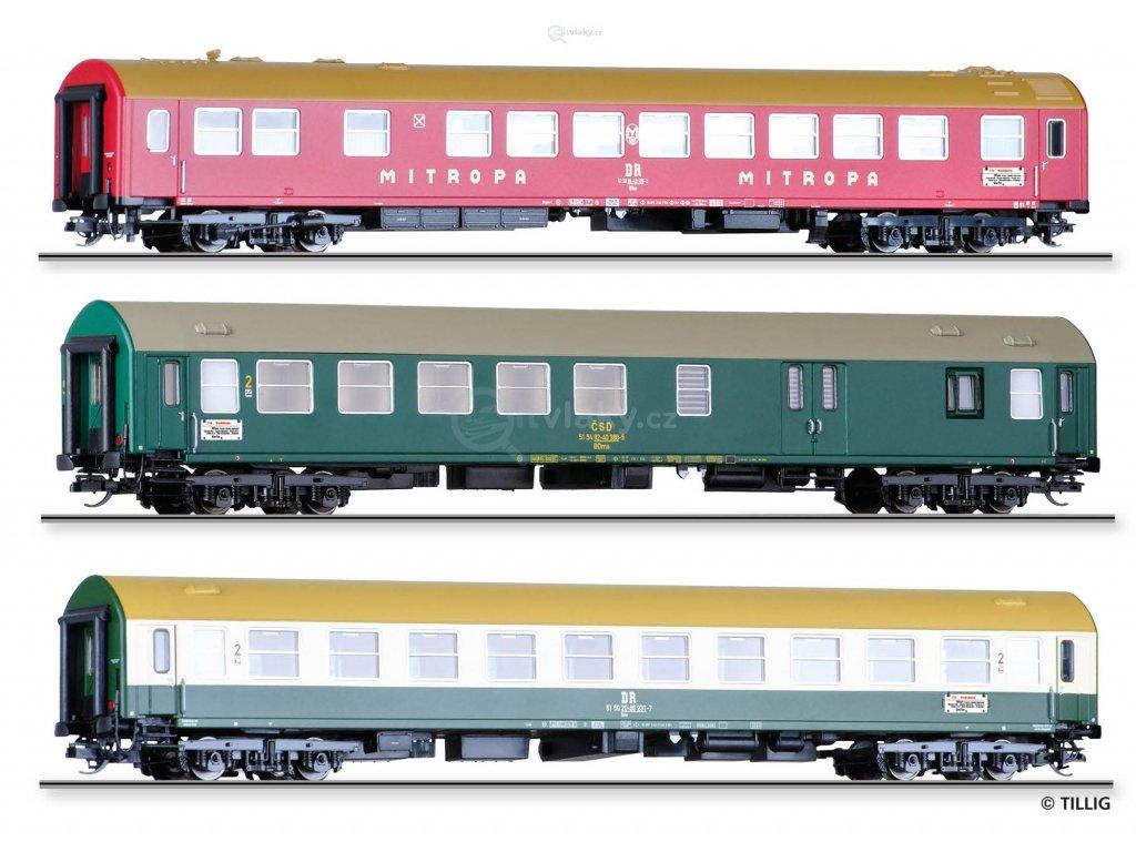 TT - set tří vozů expresu Vindobona - 1. část, DR/ČSD, Y/B 70 / Tillig 01776 E