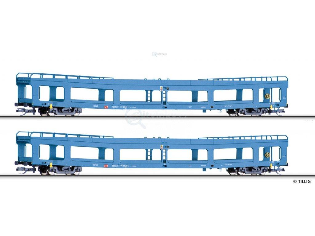 TT - Souprava dvou vozů pro přepravu aut DDm 916, DB AG / Tillig 01788