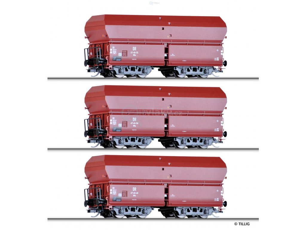 TT - 3- dílný set výsypných vozů OOt 47 s uhlím, DR / Tillig 01790 E