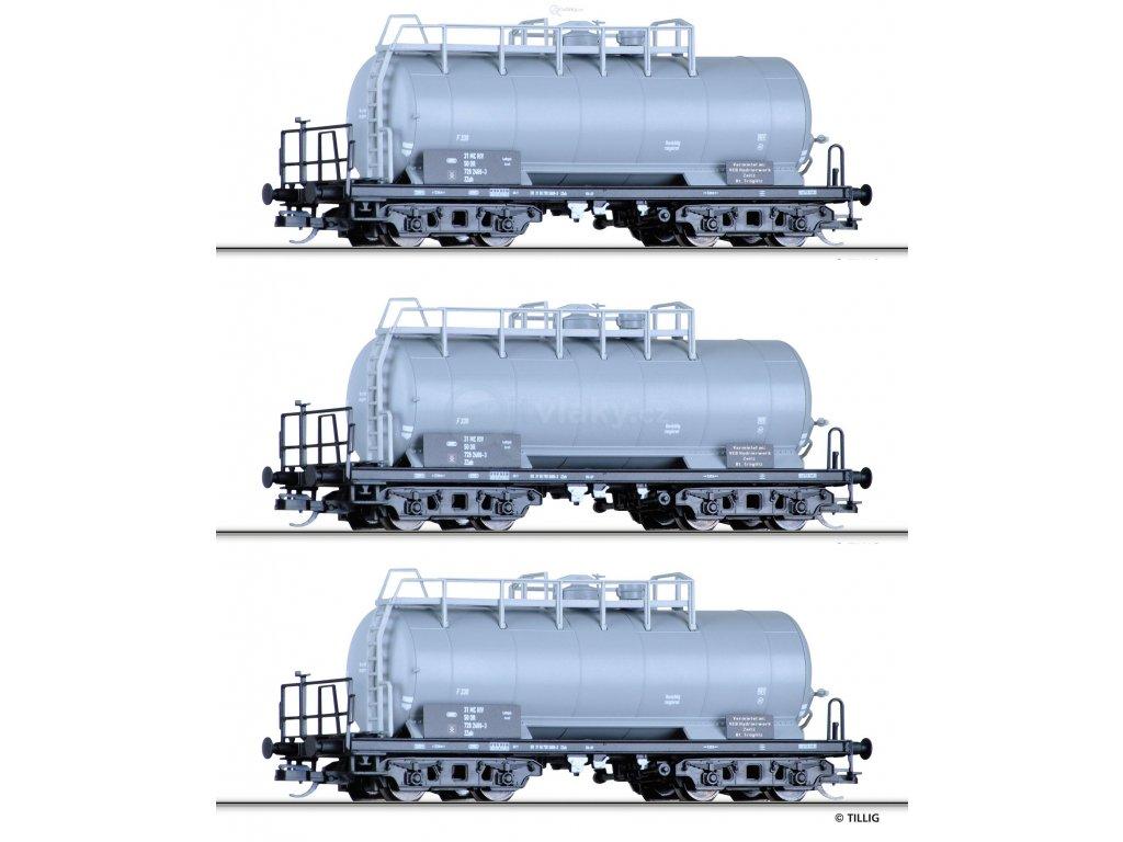 """TT - 3- dílný set cisternových vozů ZZh """"VEB Hydrierwerk Zeitz"""",DR/ Tillig 01792"""