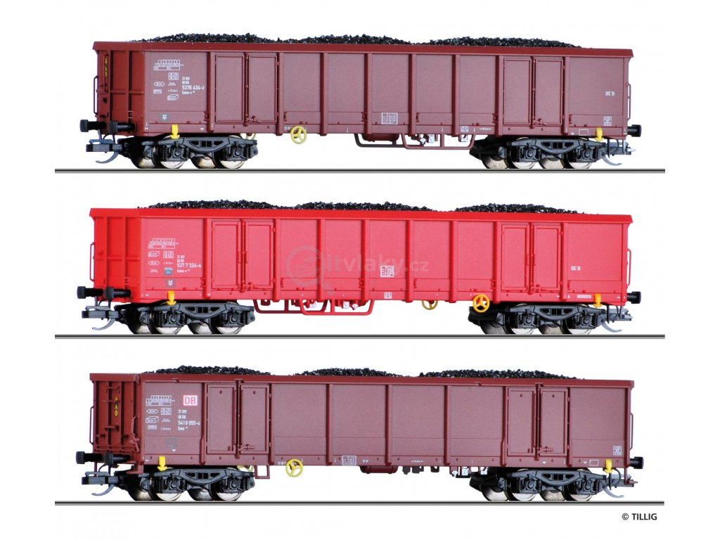 TT - 3- dílný set otevřených nákladních vozů Eanos s uhlím, DB AG / Tillig 01794