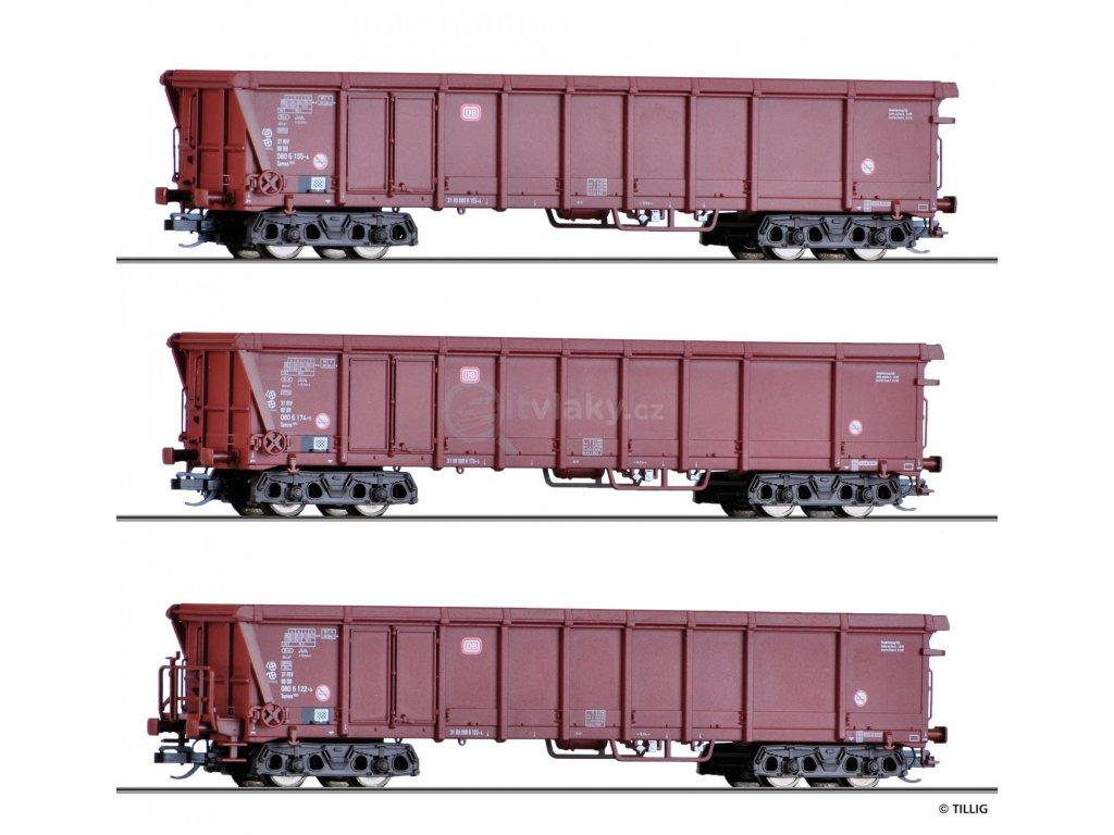 TT - 3-dílný set otevřených nákladních vozů Tamns 893 s plachtou,DB/Tillig 01795