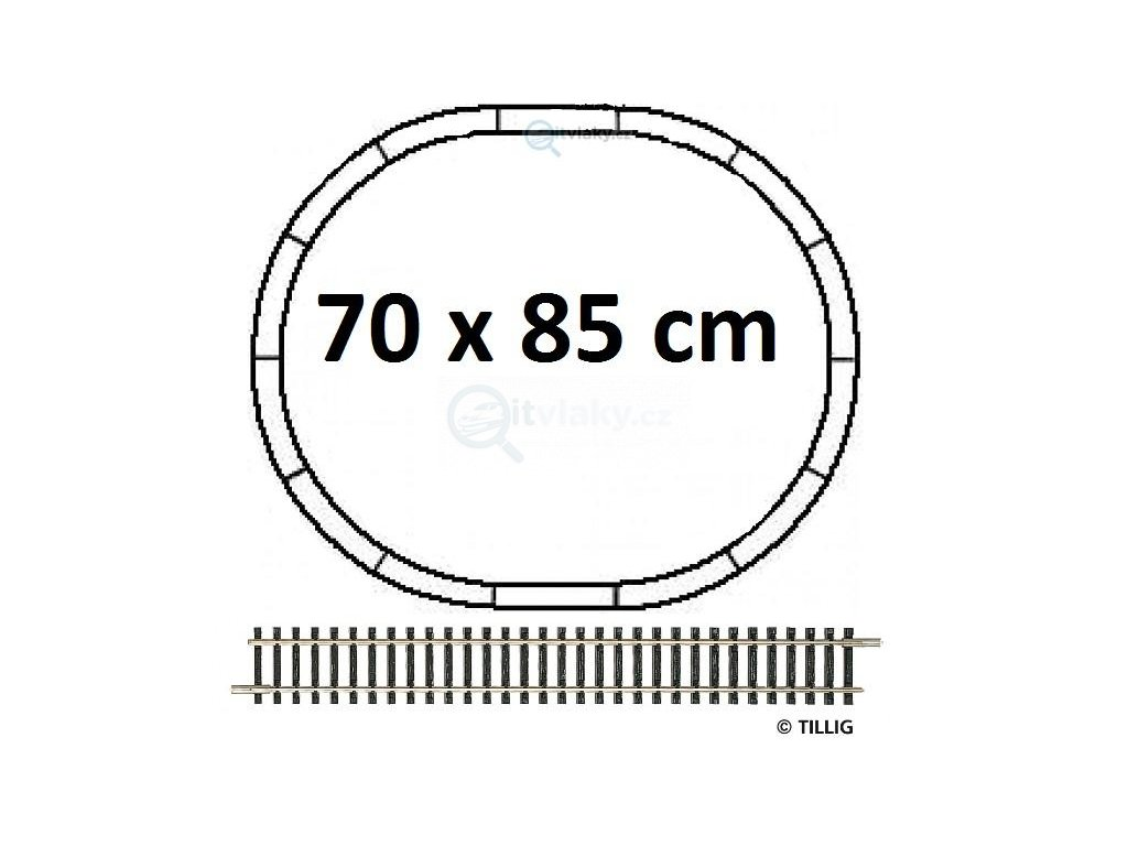TT - základní set kolejí 70x85, kolejivo bez podloží, ovál R310 / Tillig 01829