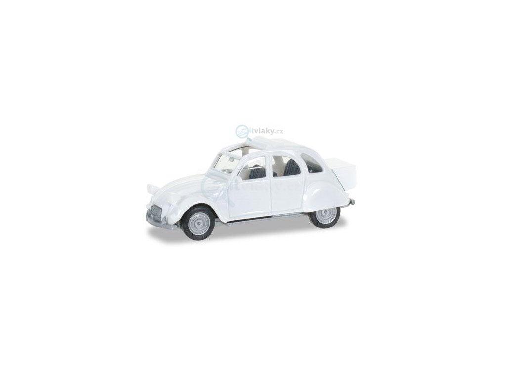 H0 - Citroen 2 CV mit Queue, perleťově bílá / Herpa 027632