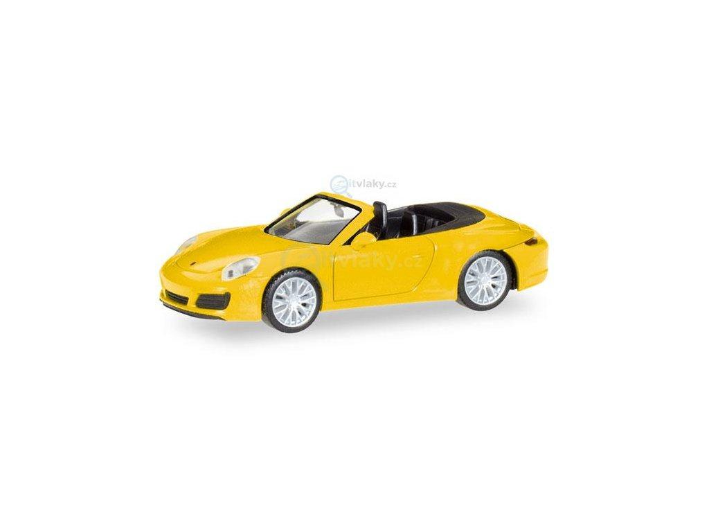 H0 - Porsche 911 Carrera 4S Cabrio, žluté / Herpa 028899