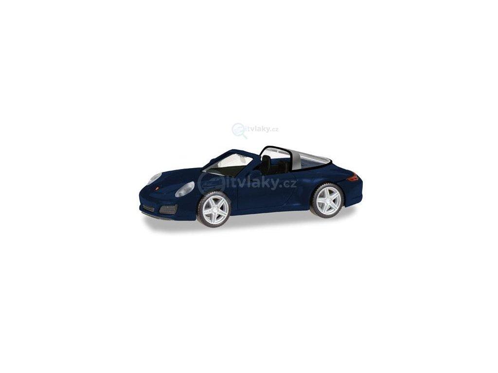 H0 - Porsche 911 Targa 4, modrá metalíza / Herpa 038867