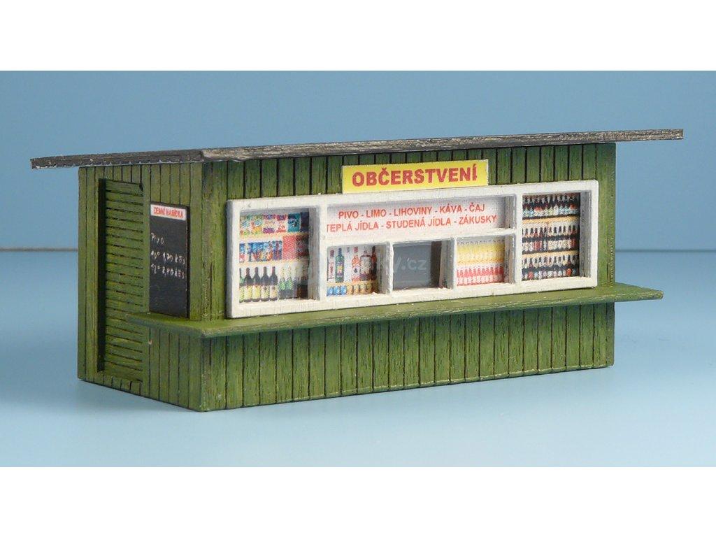 H0 - Občerstvení dřevěné, zeleno-bílé, plný pult / Veramo 040217