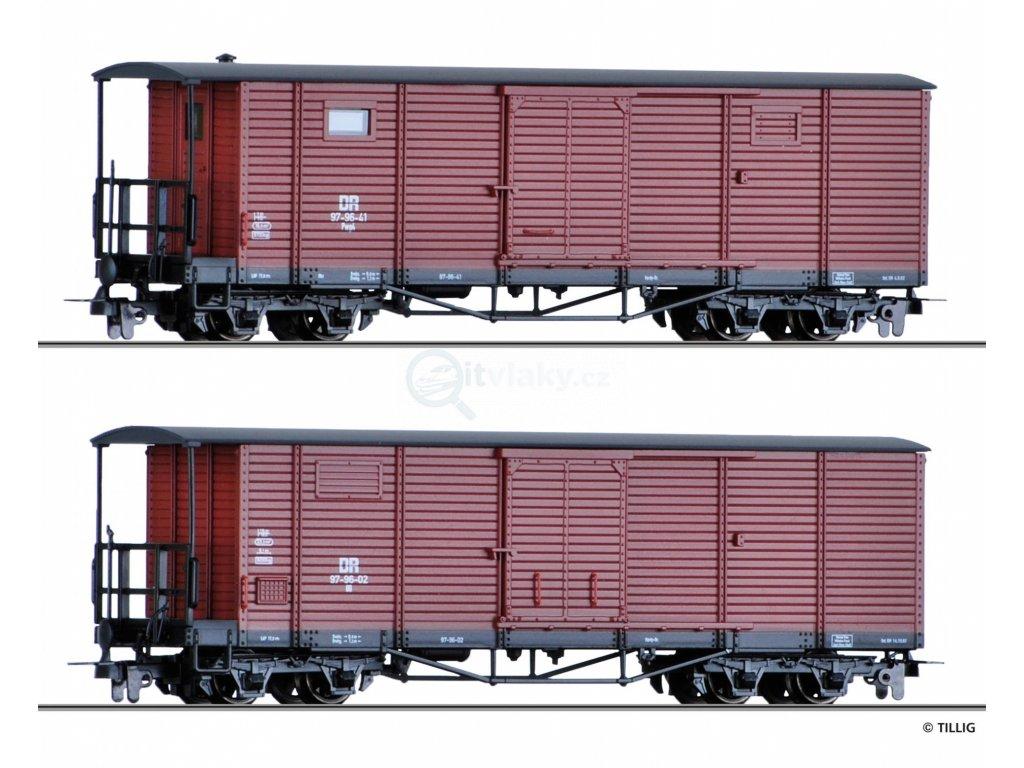 H0e - Set dvou krytých nákladních vozů, DR / Tillig 05940