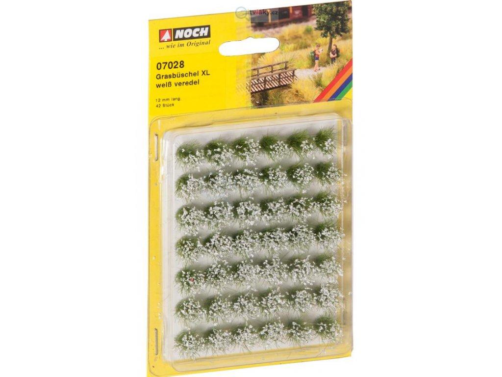 Bílé kvetoucí travní trsy XL 12 mm / NOCH 07028