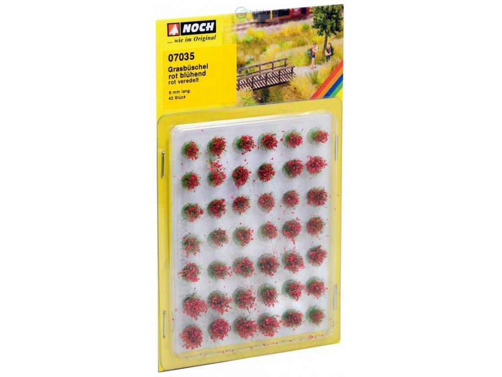 Travní trsy, kvetoucí - červené / NOCH 07035