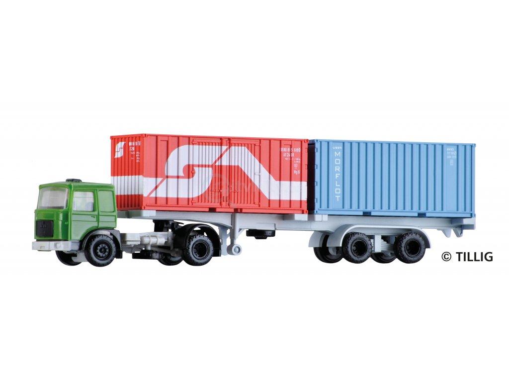 TT -  Nákladní automobil s přívěsem kontejnerů / TILLIG 08716