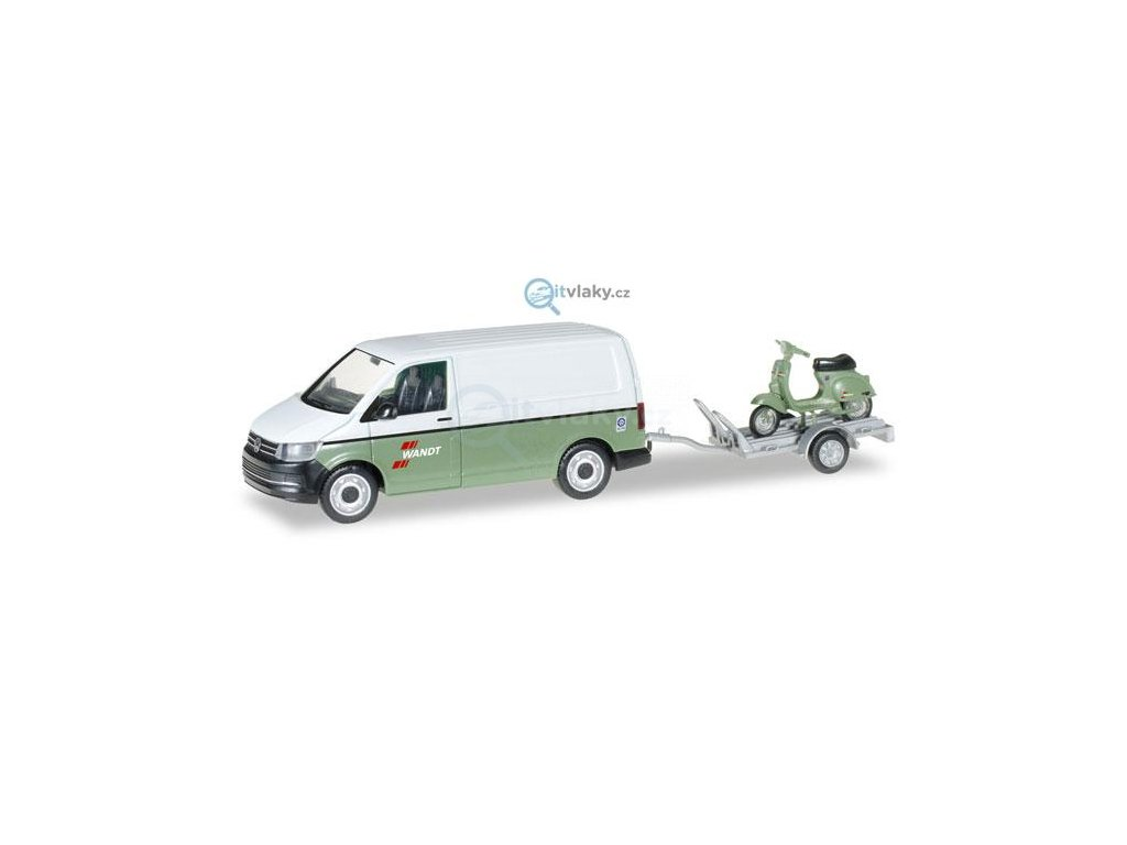 """H0 - VW T6 Kasten with trailer and Vespa """"Spedition Wandt"""" / HERPA 092760"""