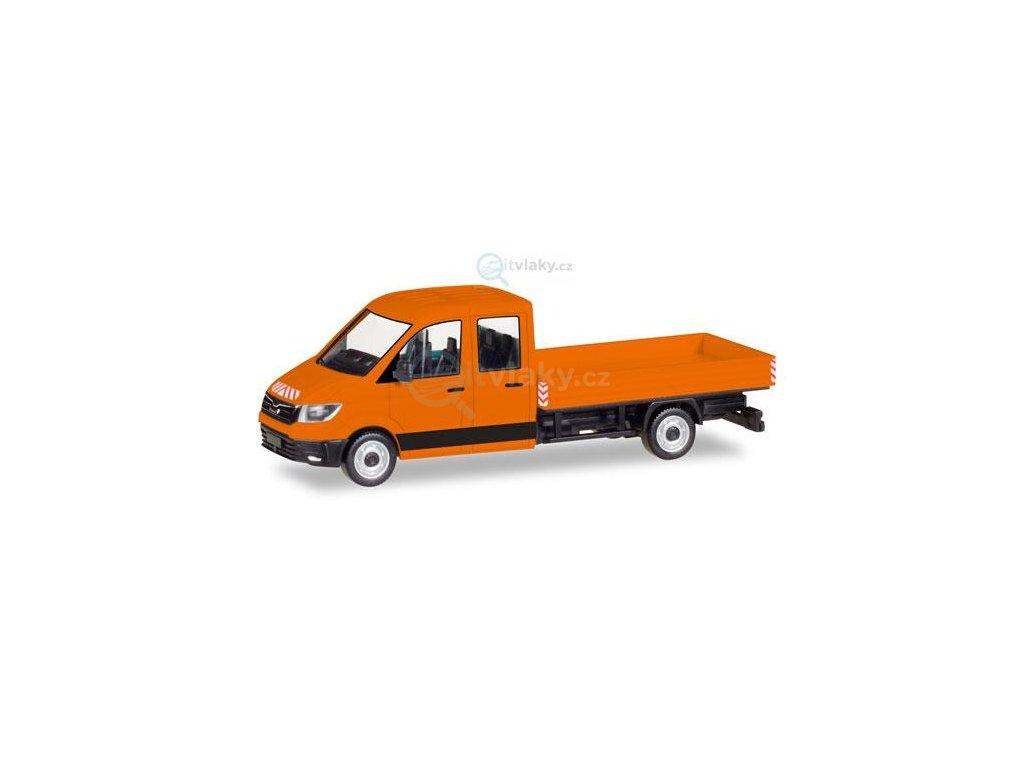 H0 - Kabina MAN TGE s plošinou, oranžová / Herpa 093453