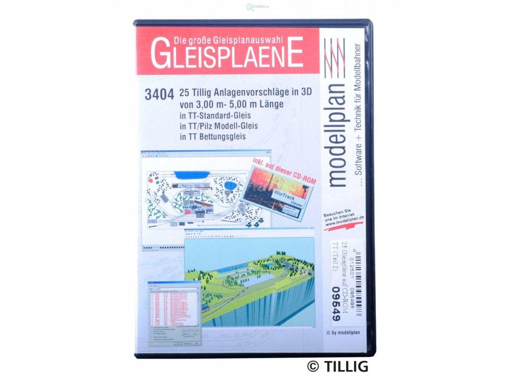 CD-ROM GLEISPLANE II 3404 -  Plány kolejišť nad 3 m v TT / TILLIG 09549