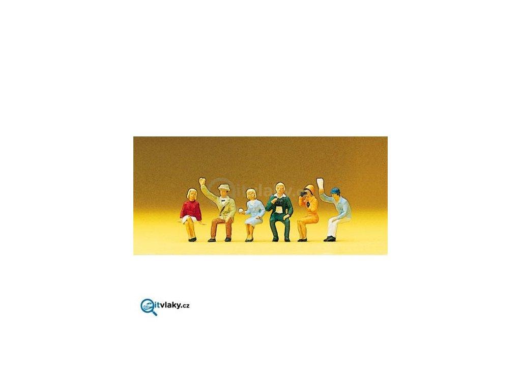 H0 - Sedící diváci 6 ks figurek / Preiser 10025