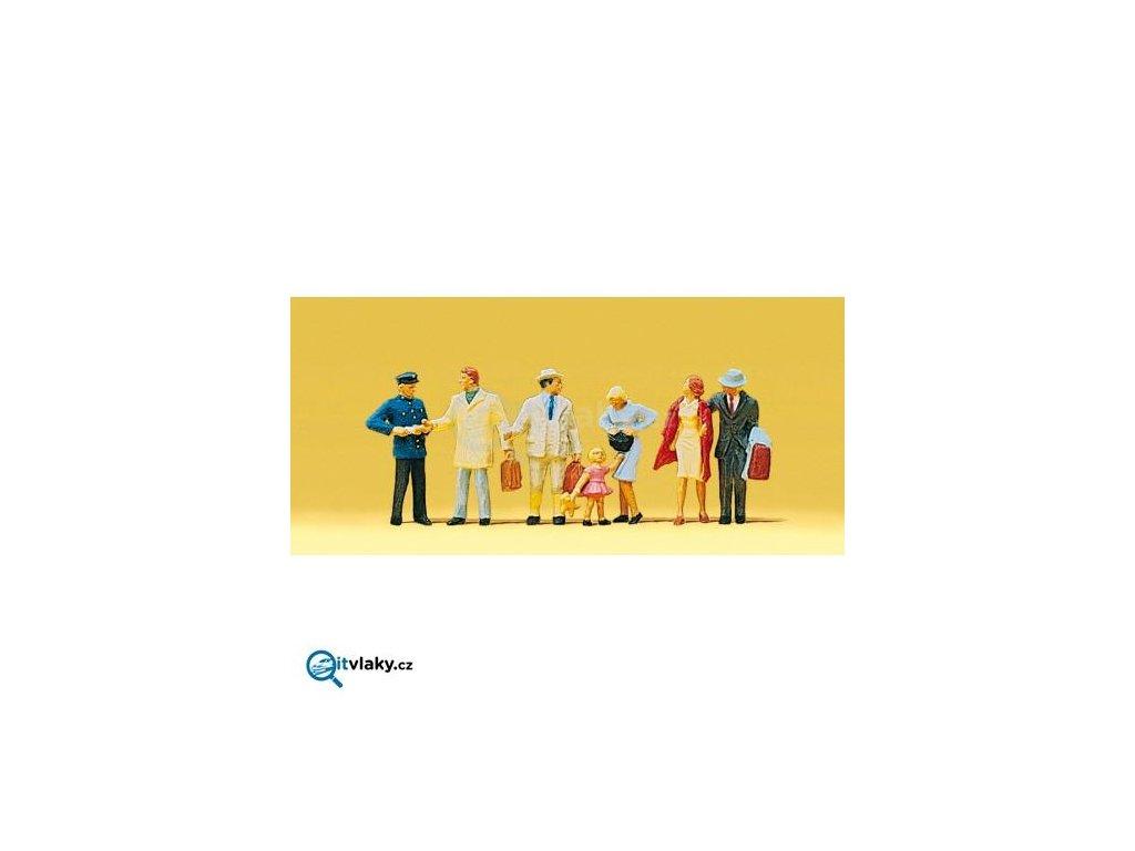 H0 - Cestující + železničář 7 ks figurek / Preiser 10029