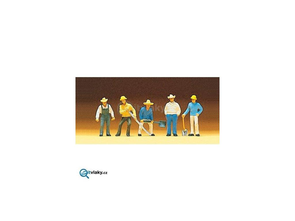 H0 - Dělníci 5 ks figurek / Preiser 10031