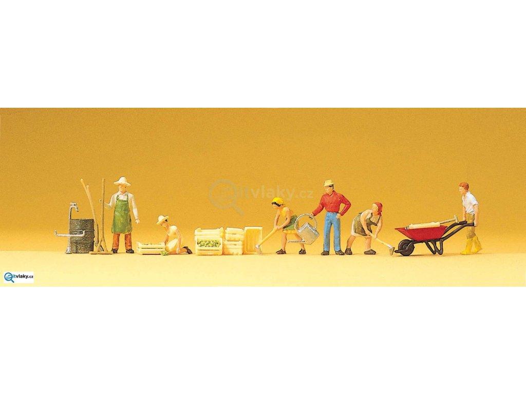 H0 - Zahradnící s příslušenstvím 5 ks figurek / Preiser 10046