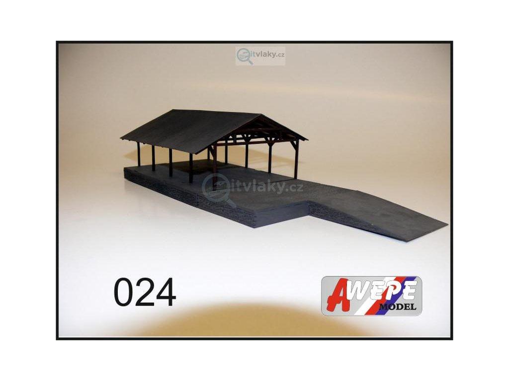 H0 - Trámový přístřech 024 / AWEPE model 10047 + rampa