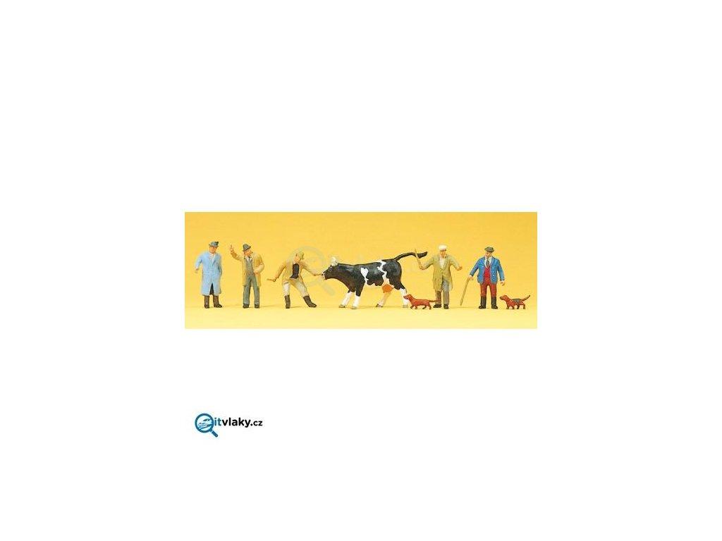H0 - Prodej krávy 6 ks figurek / Preiser 10048