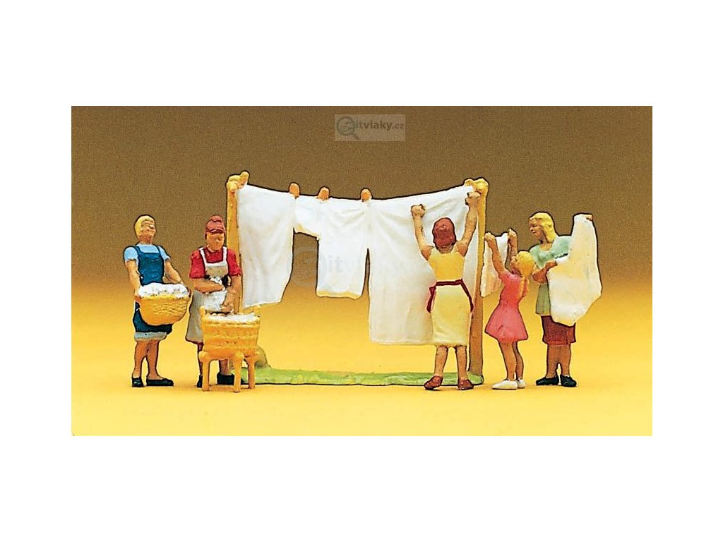 H0 - Praní a věšení prádla / Preiser 10050