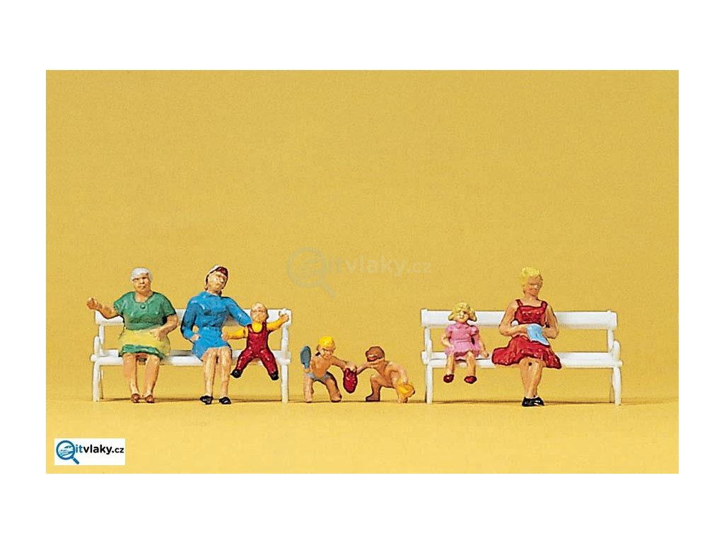 H0 - Sedící matky s dětmi / Preiser 10051