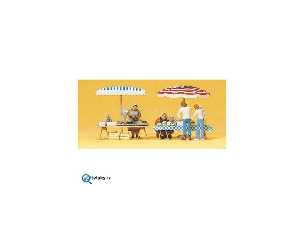 H0 - Tržní stánky 4 ks figurky / Preiser 10052