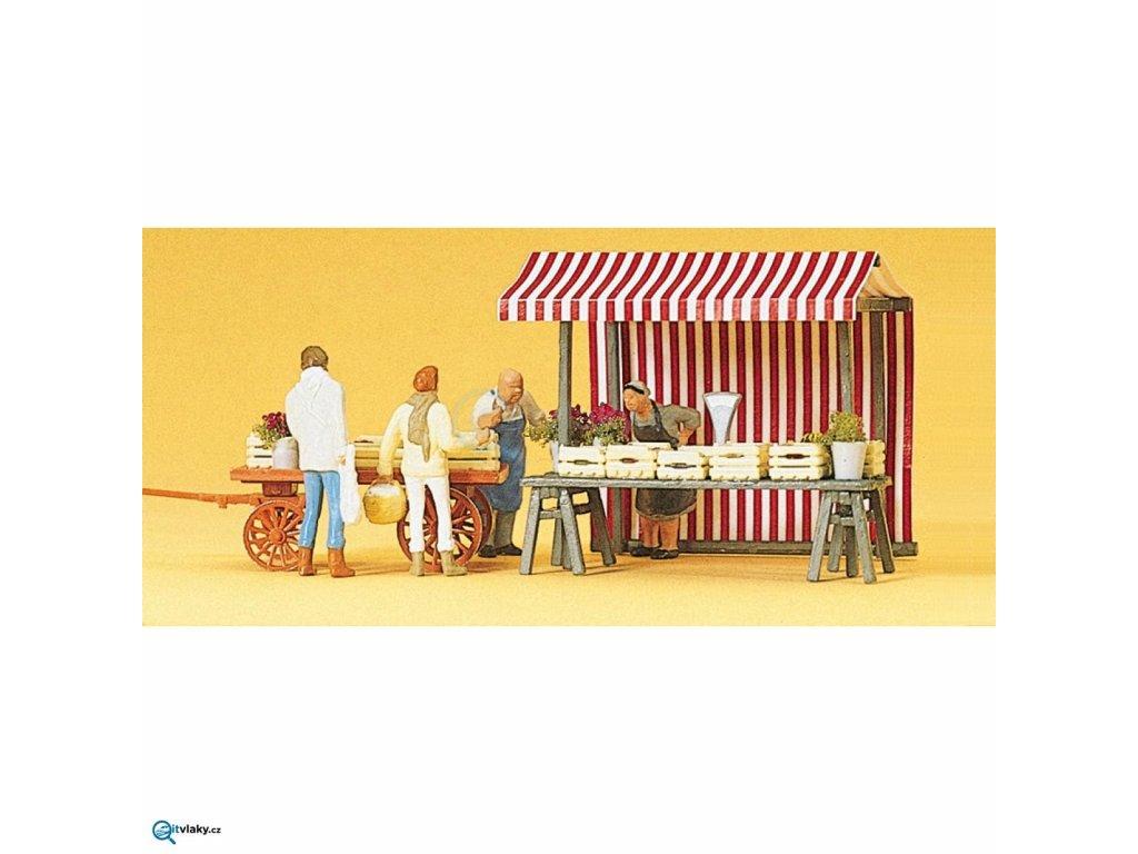 H0 - Ovocné a zeleninové stánky 4 ks figurek / Preiser 10053