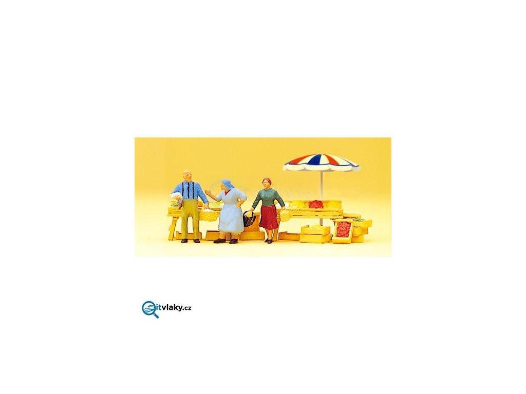 H0 - Na trhu 3 ks figurek + tržiště/ Preiser 10056