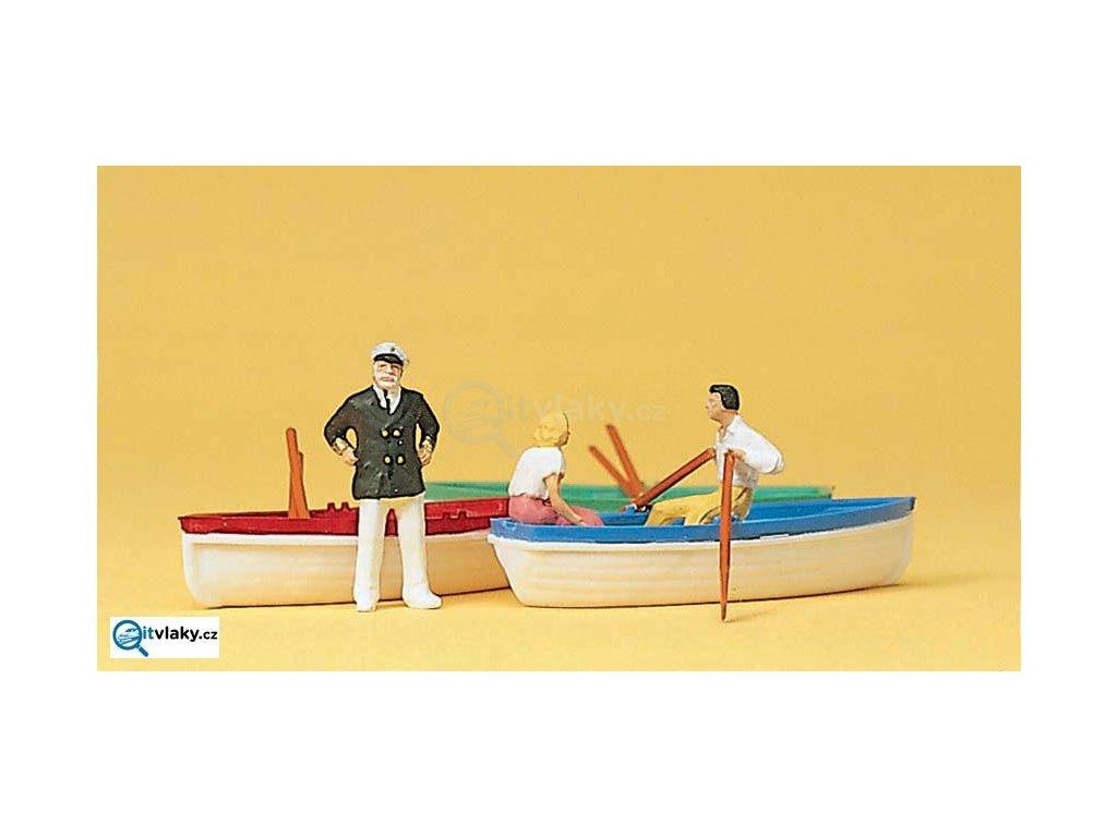 H0 - Půjčovna lodí + 3 lodě / Preiser 10072