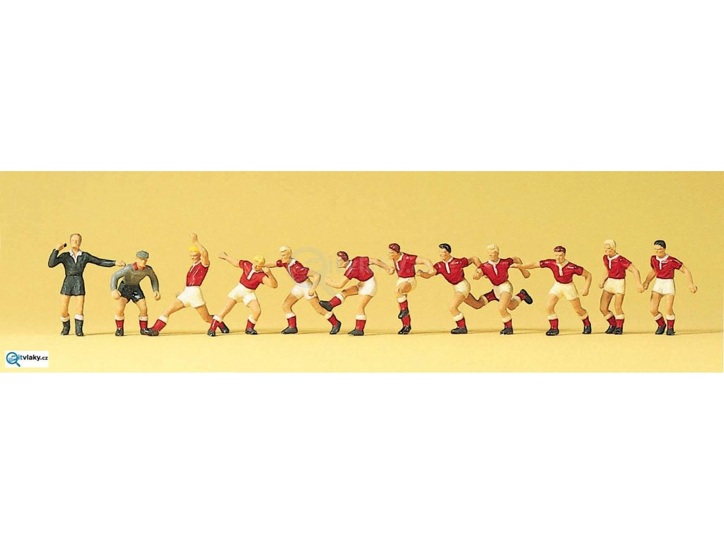 H0 - fotbalový tým, 12 ks figurek / Preiser 10075