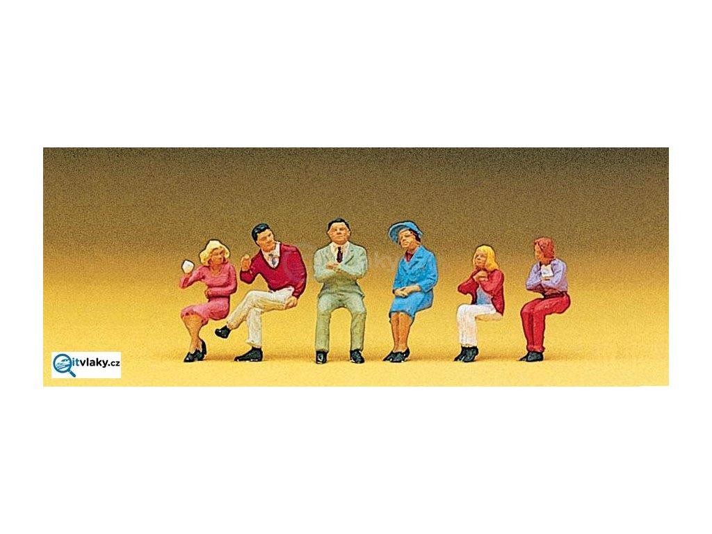 H0 - Sedící osoby, 6 ks figurek / Preiser 10096