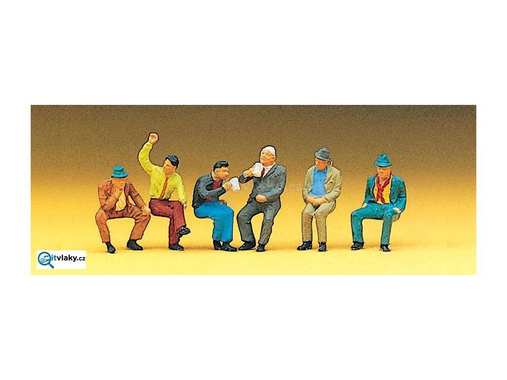 H0 - Sedící osoby, 6 ks figurek / Preiser 10097