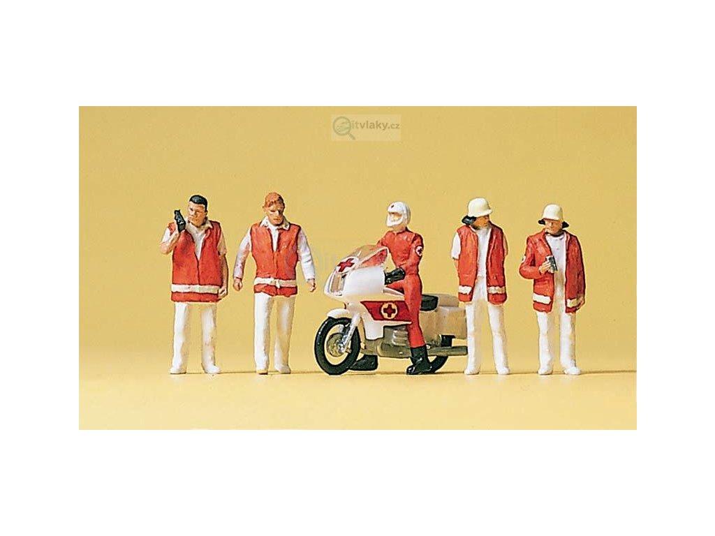 H0 - Záchranná služba s motocyklem / Preiser 10100
