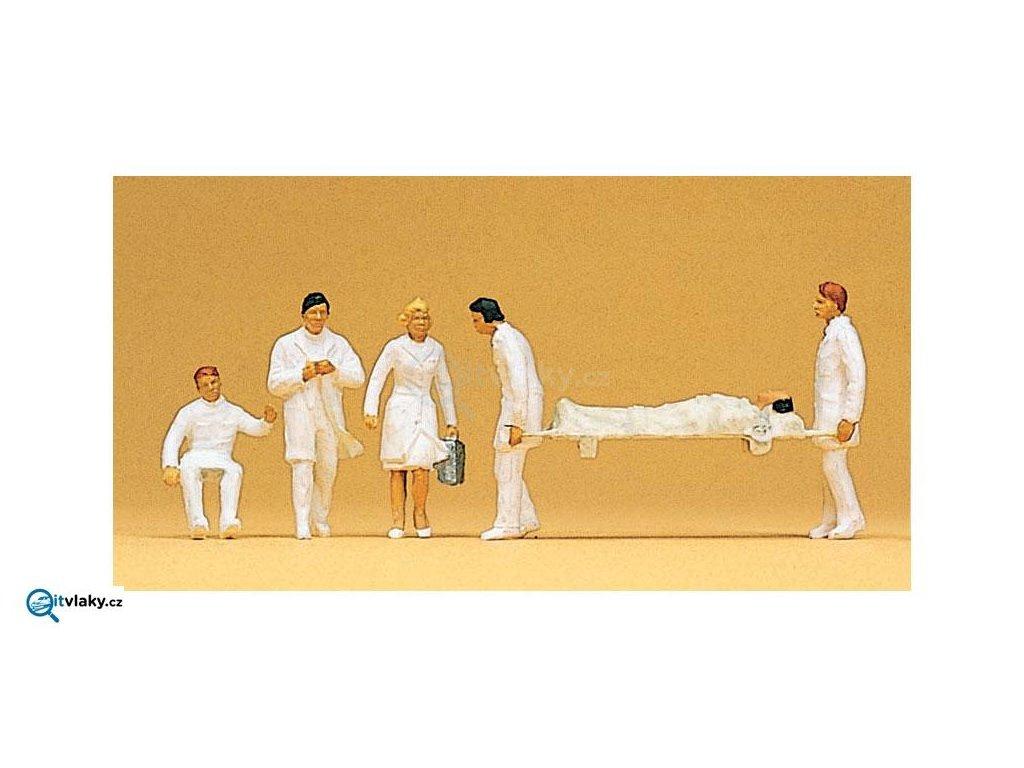 H0 - Zdravotnící s nosítky, 6 ks figurek / Preiser 10101