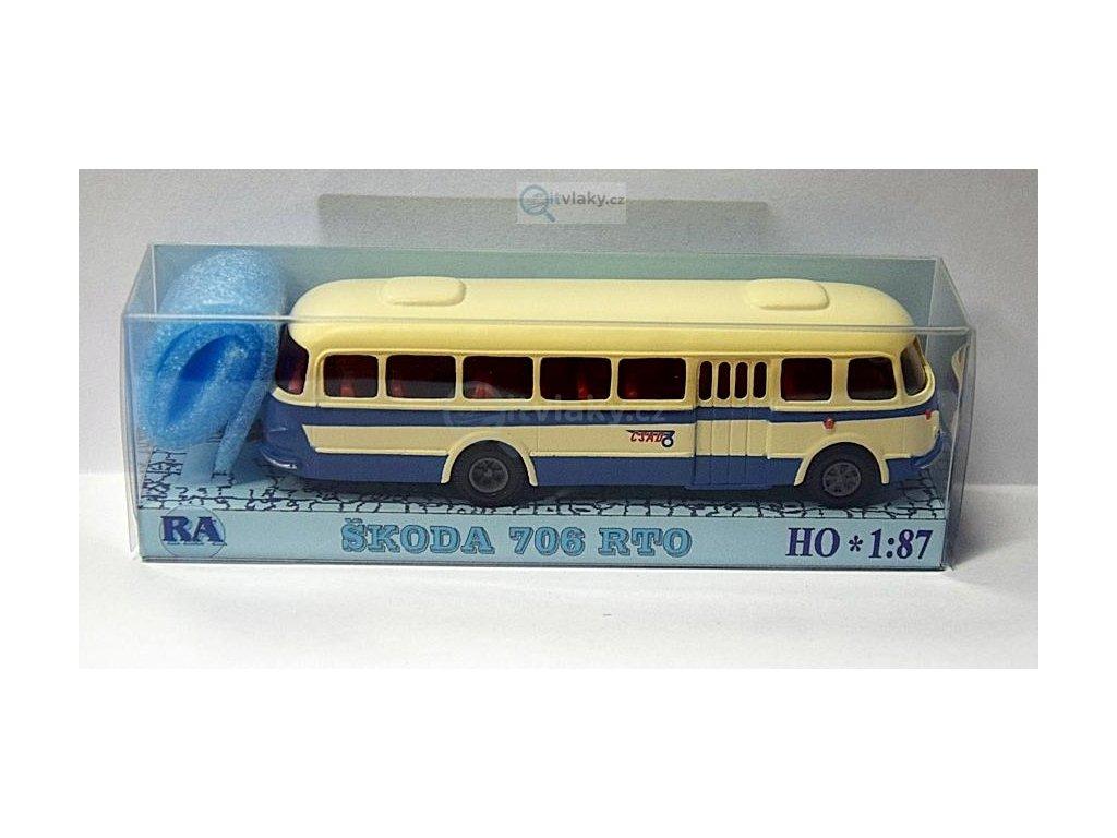 H0 - autobus Škoda 706 RTO bílá/modrá, pruh / Došlý 101010