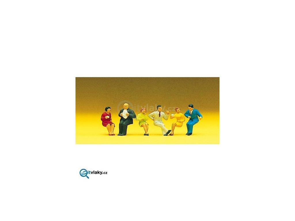 H0 - Sedící osoby 6 ks figurek / Preiser 10103