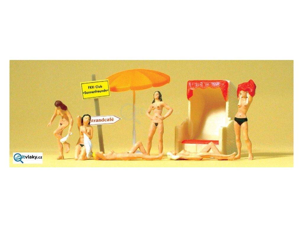H0 - Na nudistické pláži, 6 ks figurek FKK / Preiser 10107