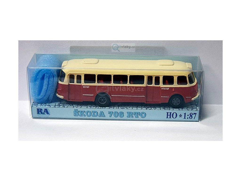 H0 - autobus Škoda 706 RTO bílá/červená / Došlý 101100