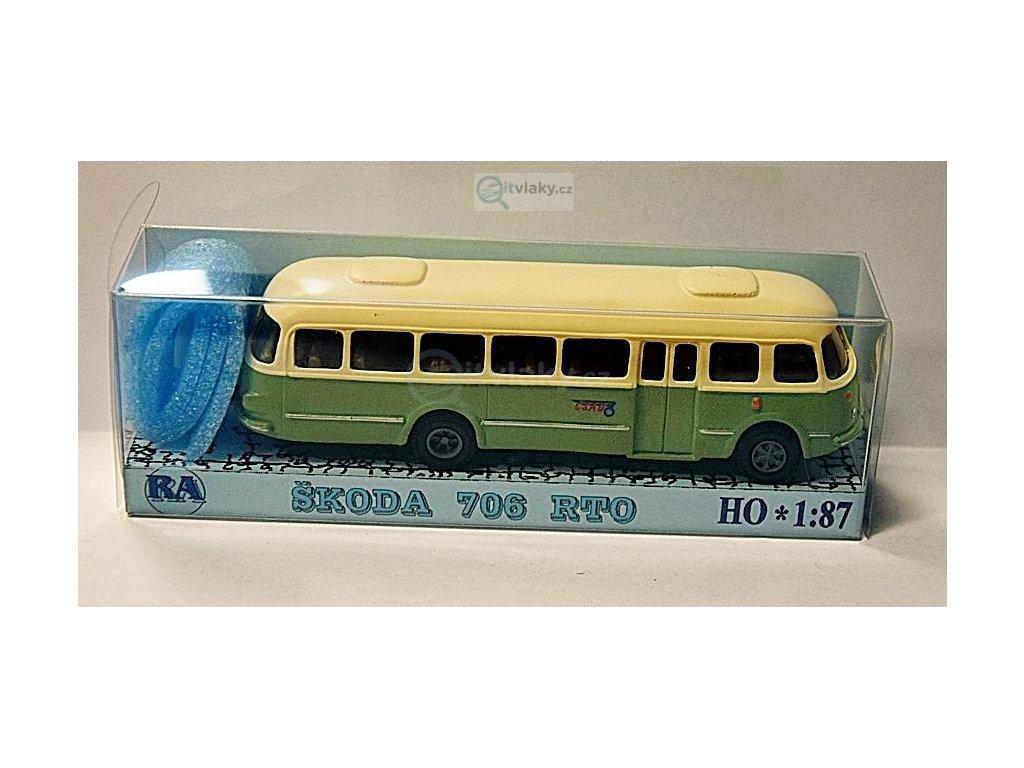 H0 - autobus Škoda 706 RTO bílá/zelená / Došlý 101200