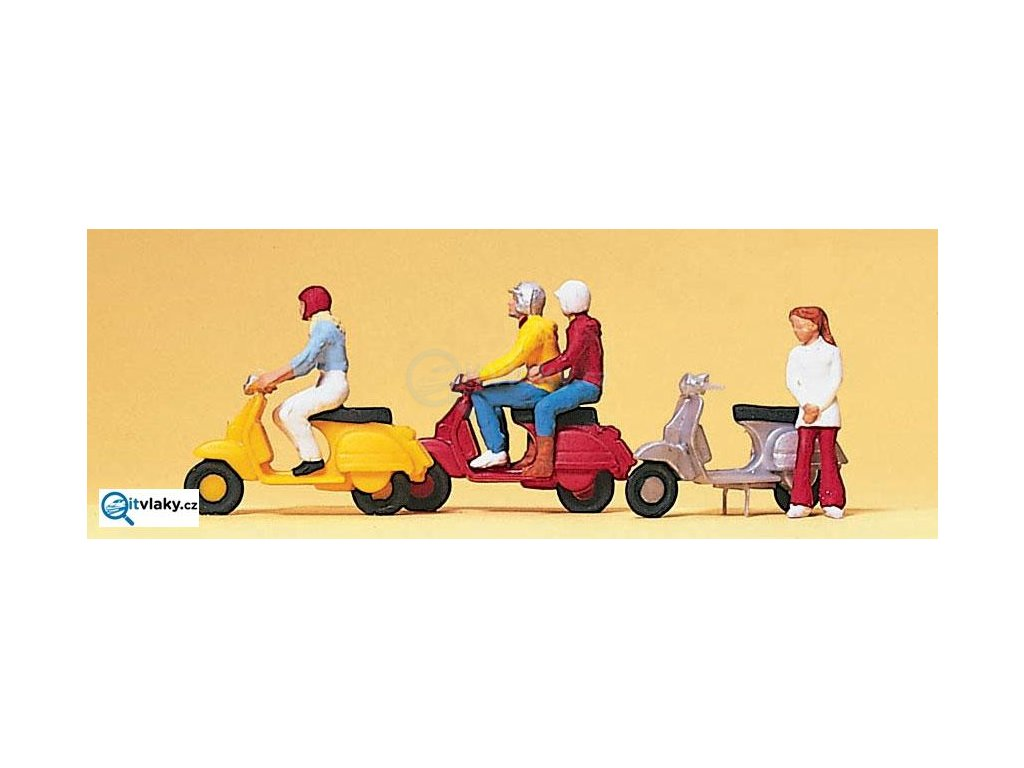 "H0 -  Scooter ""Vespa"" 4 ks figurek / Preiser 10128"