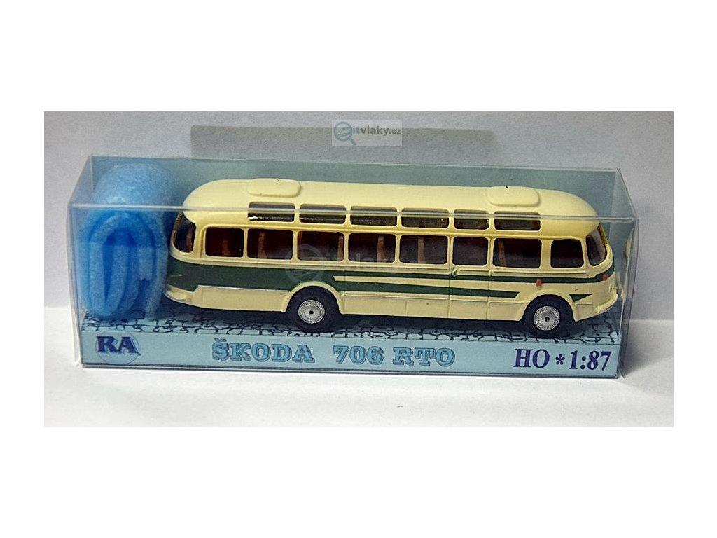 H0 - autobus Škoda 706 RTO bílá/zelená / Došlý 101303