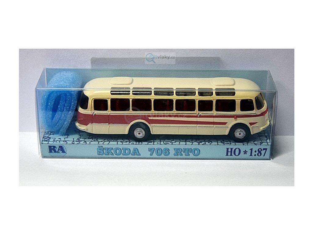 H0 - autobus Škoda 706 RTO bílá/červená pruh / Došlý 101350