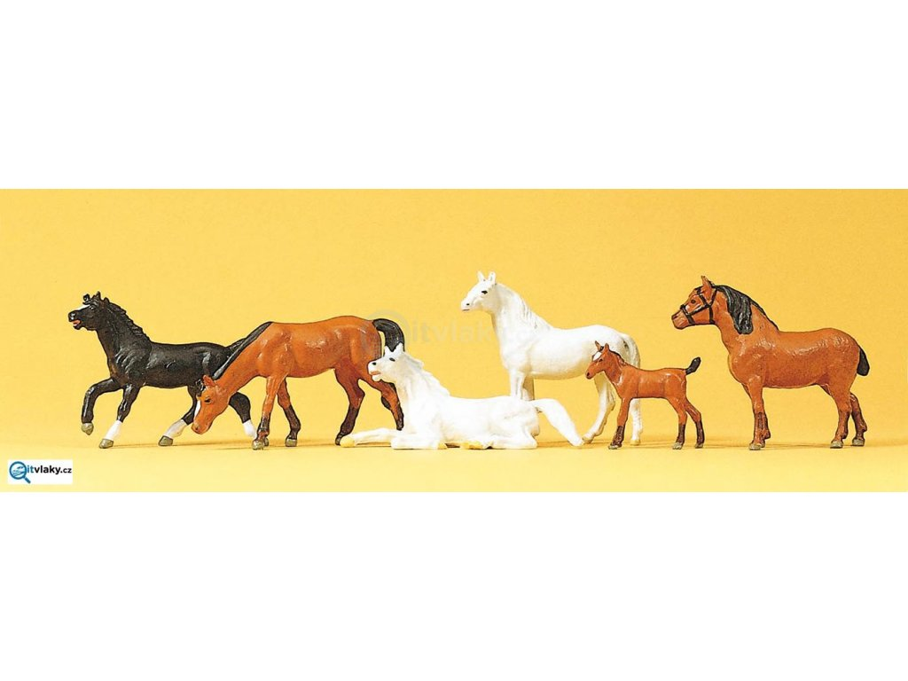 H0 - Koně, 6 ks figurek / Preiser 10150