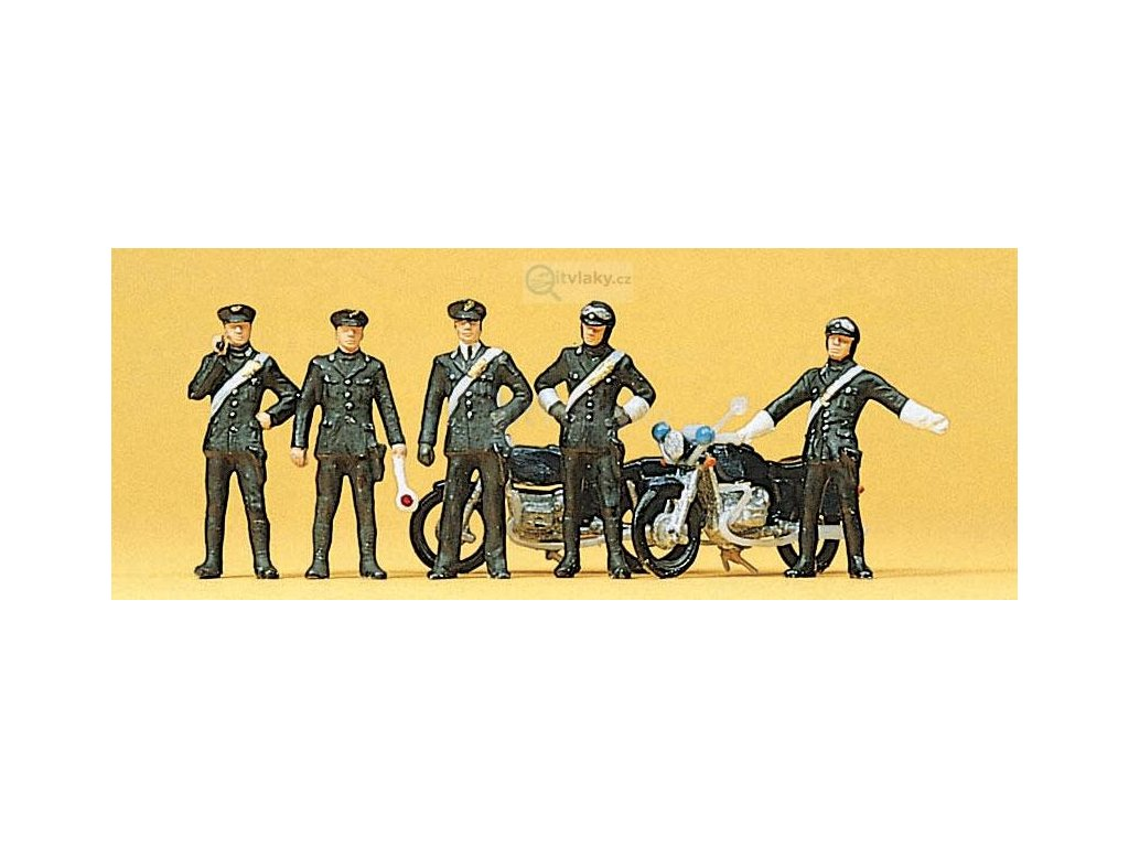 H0 - Carabinieri, italská Policie, 5 figurek, 2 motorky / Preiser 10175