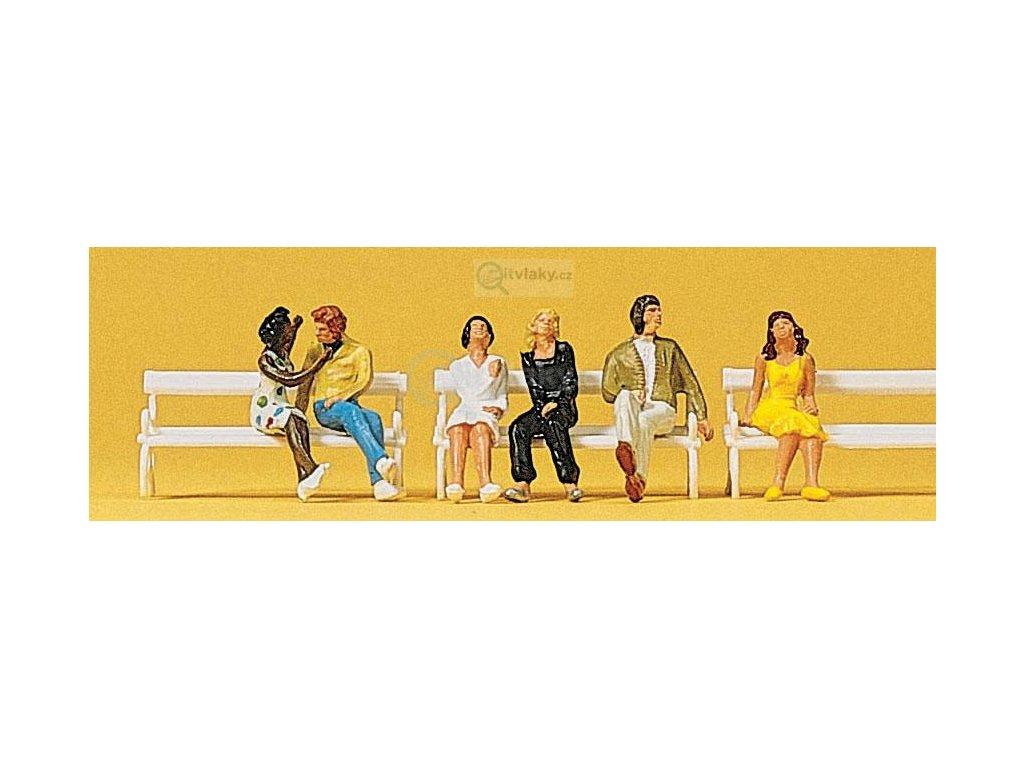 H0 - Sedící Páry, 6 figurek / Preiser 10180