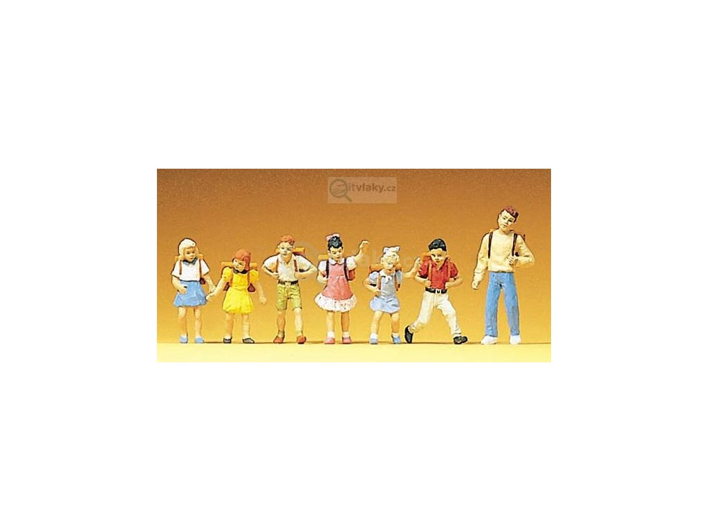H0 - Školáci, 7 figurek / Preiser 10181